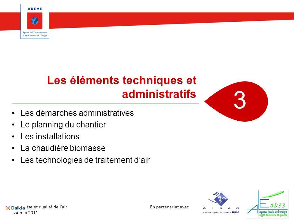 En partenariat avec Biomasse et qualité de lair 24 mai 2011 Les démarches administratives Le planning du chantier Les installations La chaudière bioma