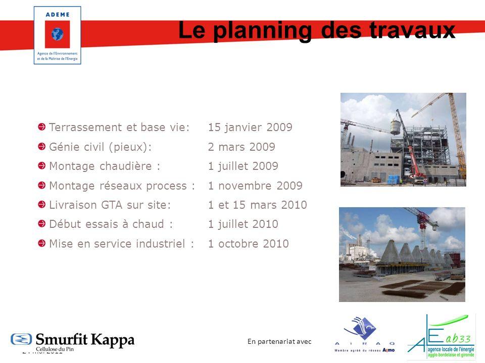 En partenariat avec Biomasse et qualité de lair 24 mai 2011 Terrassement et base vie:15 janvier 2009 Génie civil (pieux):2 mars 2009 Montage chaudière