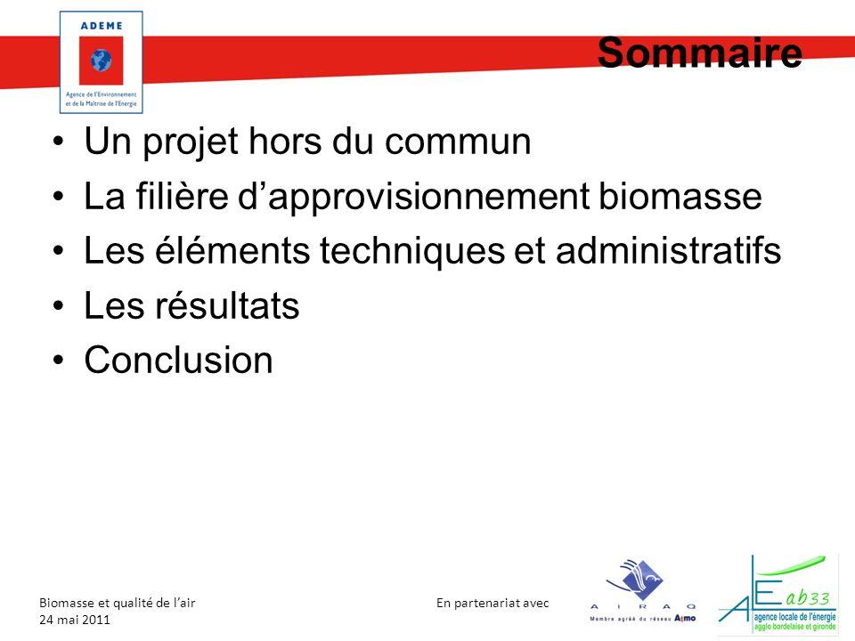 En partenariat avec Biomasse et qualité de lair 24 mai 2011 Sommaire Un projet hors du commun La filière dapprovisionnement biomasse Les éléments tech