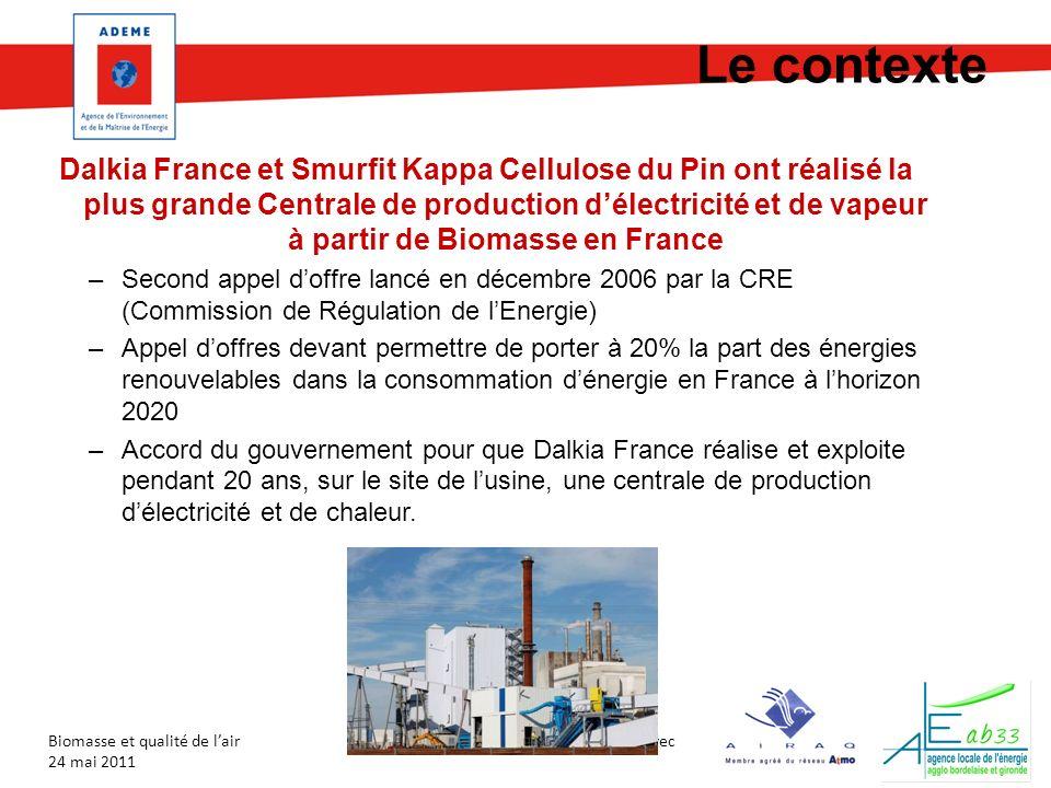 En partenariat avec Biomasse et qualité de lair 24 mai 2011 Le contexte Dalkia France et Smurfit Kappa Cellulose du Pin ont réalisé la plus grande Cen