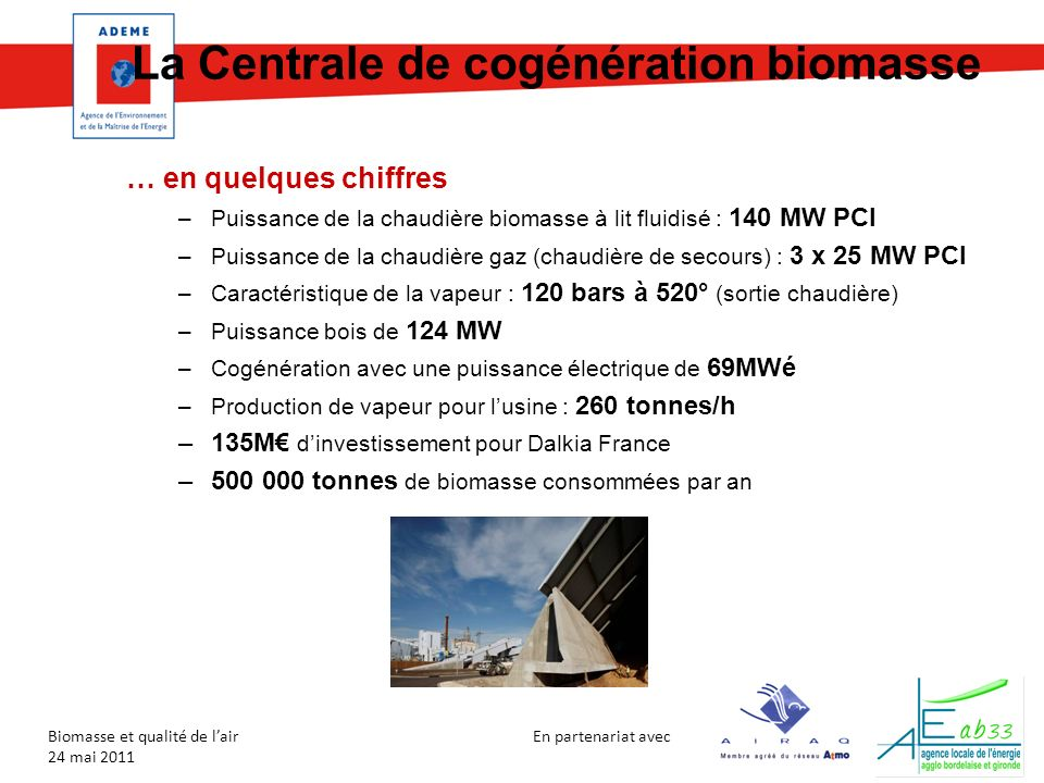 En partenariat avec Biomasse et qualité de lair 24 mai 2011 La Centrale de cogénération biomasse … en quelques chiffres –Puissance de la chaudière bio