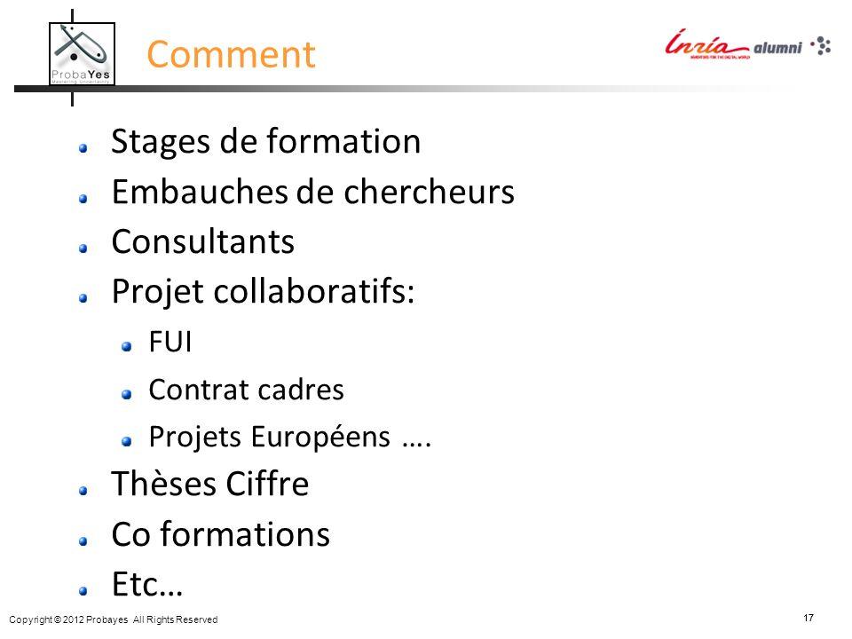 Copyright © 2012 Probayes All Rights Reserved 17 Comment Stages de formation Embauches de chercheurs Consultants Projet collaboratifs: FUI Contrat cad