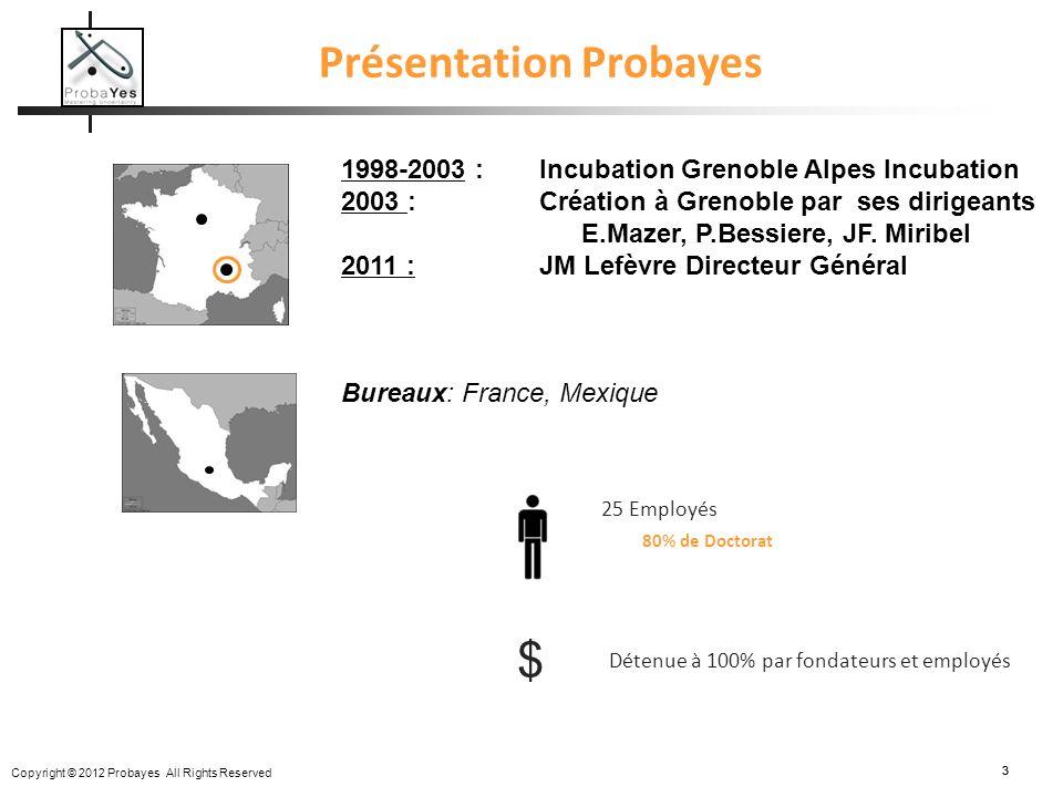 Copyright © 2012 Probayes All Rights Reserved 33 Présentation Probayes 1998-2003 :Incubation Grenoble Alpes Incubation 2003 : Création à Grenoble par
