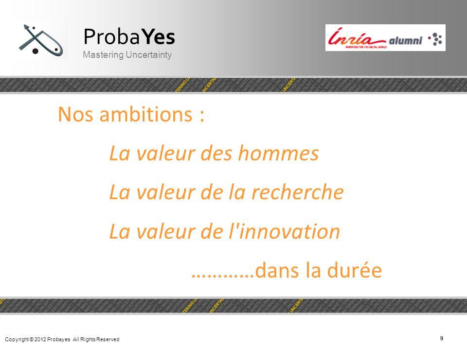 Copyright © 2012 Probayes All Rights Reserved 99 Nos ambitions : La valeur des hommes La valeur de la recherche La valeur de l'innovation …………dans la