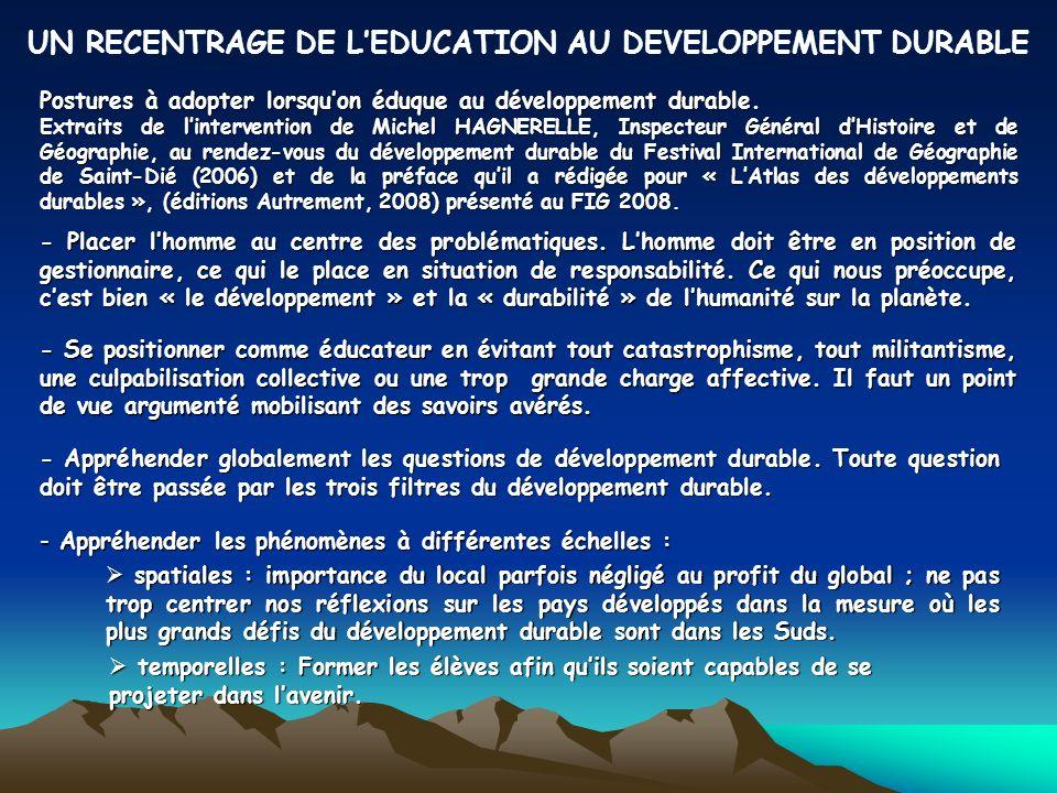 Postures à adopter lorsquon éduque au développement durable.