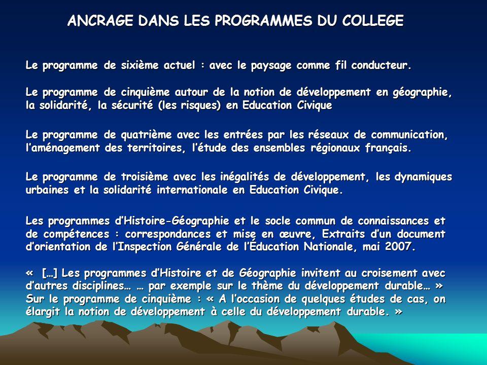 ANCRAGE DANS LES PROGRAMMES DU COLLEGE Le programme de sixième actuel : avec le paysage comme fil conducteur.