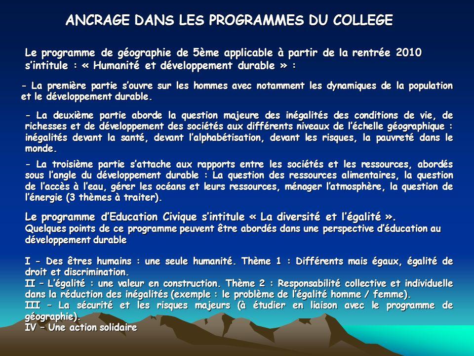 ANCRAGE DANS LES PROGRAMMES DU COLLEGE - La première partie souvre sur les hommes avec notamment les dynamiques de la population et le développement durable.