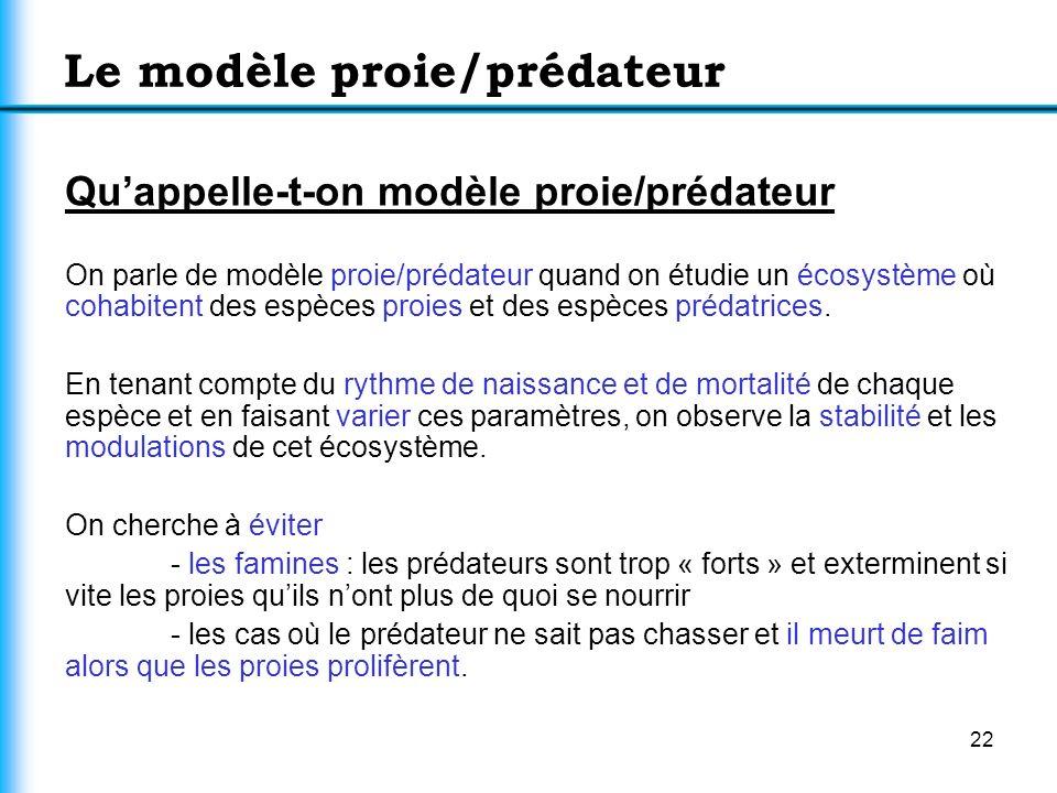 22 Le modèle proie/prédateur Quappelle-t-on modèle proie/prédateur On parle de modèle proie/prédateur quand on étudie un écosystème où cohabitent des
