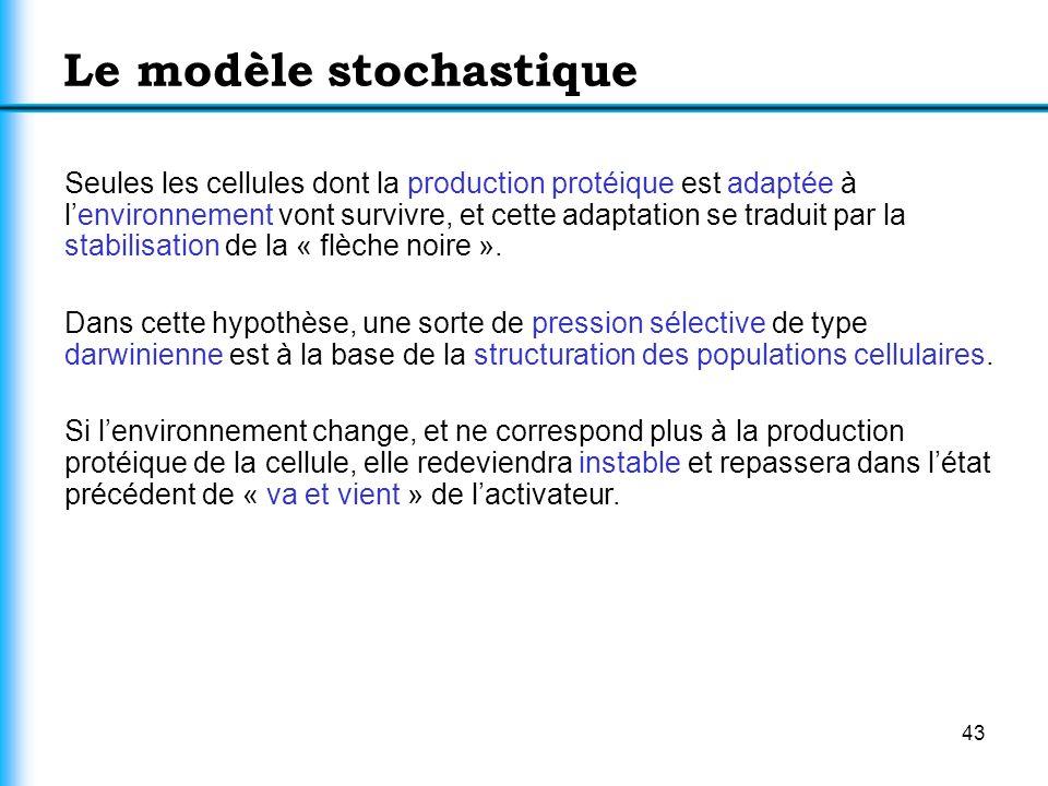 43 Le modèle stochastique Seules les cellules dont la production protéique est adaptée à lenvironnement vont survivre, et cette adaptation se traduit
