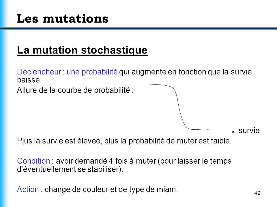 49 Les mutations La mutation stochastique Déclencheur : une probabilité qui augmente en fonction que la survie baisse. Allure de la courbe de probabil