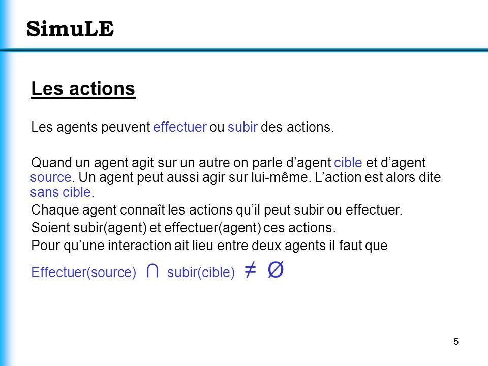 5 SimuLE Les actions Les agents peuvent effectuer ou subir des actions. Quand un agent agit sur un autre on parle dagent cible et dagent source. Un ag