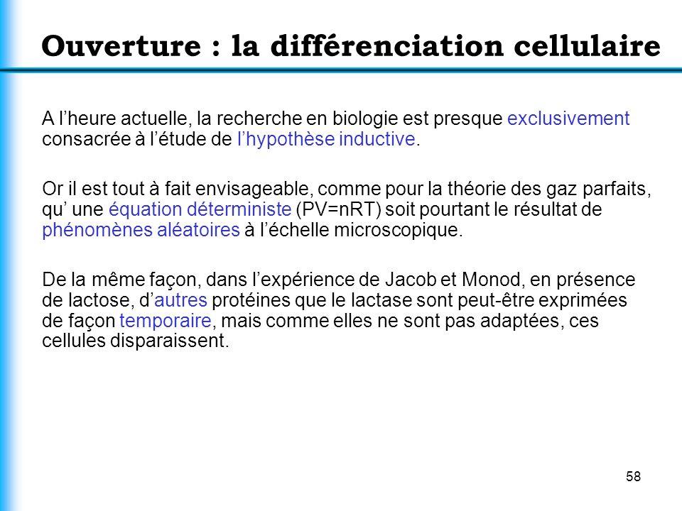 58 Ouverture : la différenciation cellulaire A lheure actuelle, la recherche en biologie est presque exclusivement consacrée à létude de lhypothèse in