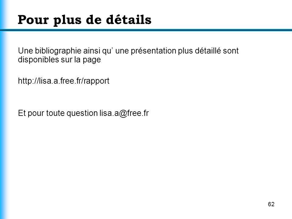 62 Pour plus de détails Une bibliographie ainsi qu une présentation plus détaillé sont disponibles sur la page http://lisa.a.free.fr/rapport Et pour t