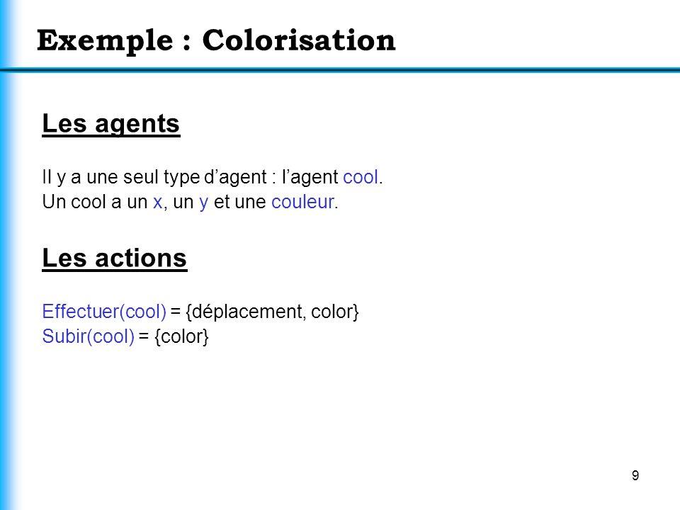 9 Les agents Il y a une seul type dagent : lagent cool. Un cool a un x, un y et une couleur. Les actions Effectuer(cool) = {déplacement, color} Subir(
