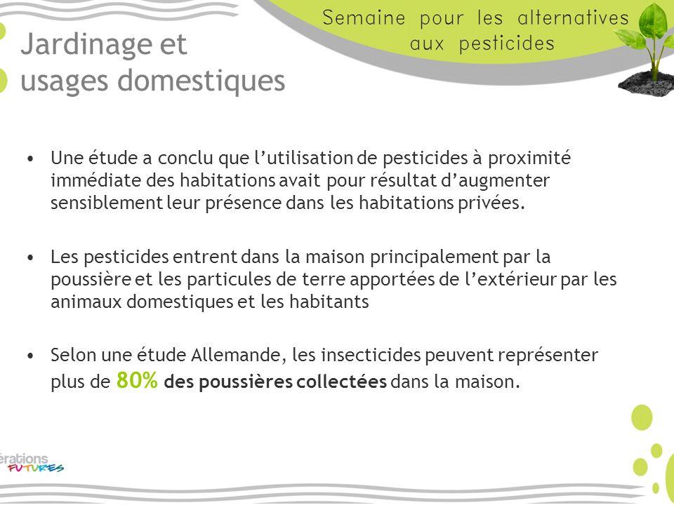 Jardinage et usages domestiques Une étude a conclu que lutilisation de pesticides à proximité immédiate des habitations avait pour résultat daugmenter
