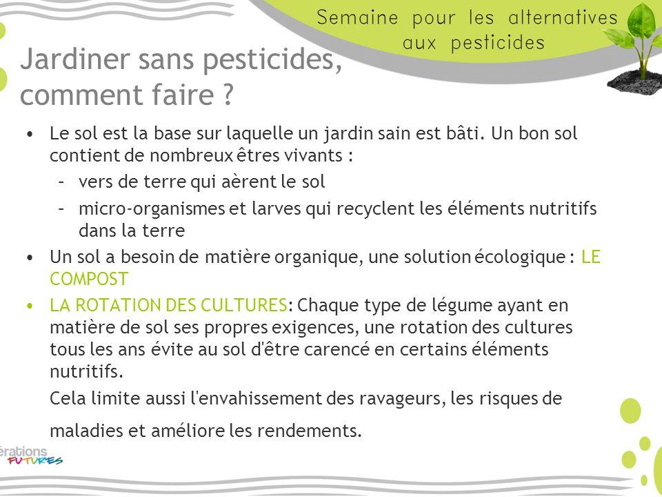 Jardiner sans pesticides, comment faire ? Le sol est la base sur laquelle un jardin sain est bâti. Un bon sol contient de nombreux êtres vivants : –ve