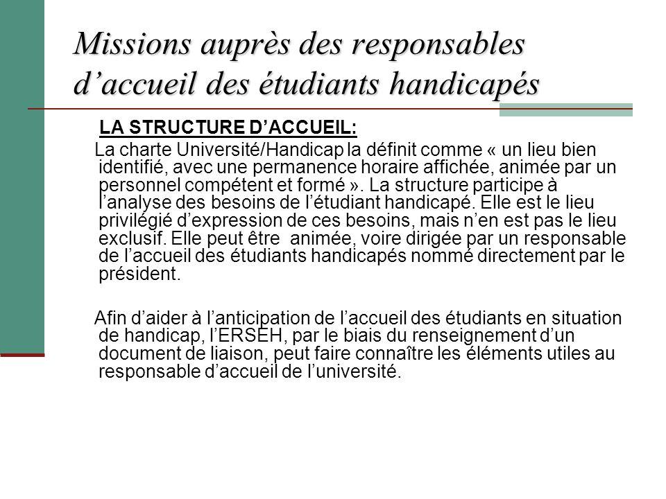 Missions auprès des responsables daccueil des étudiants handicapés LA STRUCTURE DACCUEIL: La charte Université/Handicap la définit comme « un lieu bie