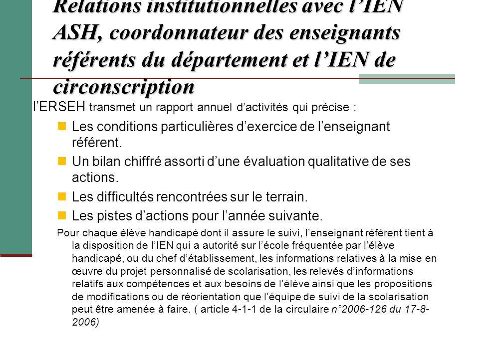Relations institutionnelles avec lIEN ASH, coordonnateur des enseignants référents du département et lIEN de circonscription lERSEH transmet un rappor