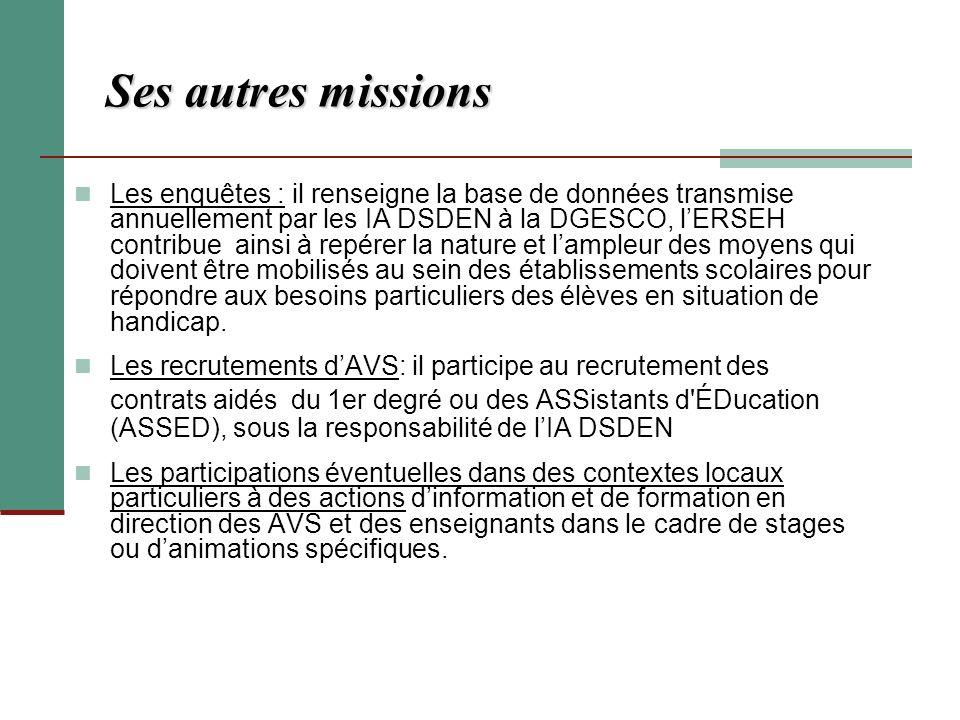 Ses autres missions Les enquêtes : il renseigne la base de données transmise annuellement par les IA DSDEN à la DGESCO, lERSEH contribue ainsi à repér