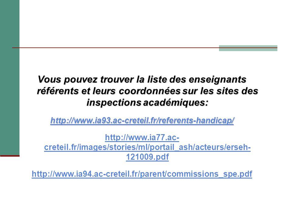Vous pouvez trouver la liste des enseignants référents et leurs coordonnées sur les sites des inspections académiques: http://www.ia93.ac-creteil.fr/r