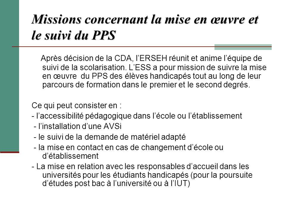 Missions concernant la mise en œuvre et le suivi du PPS Après décision de la CDA, lERSEH réunit et anime léquipe de suivi de la scolarisation. LESS a