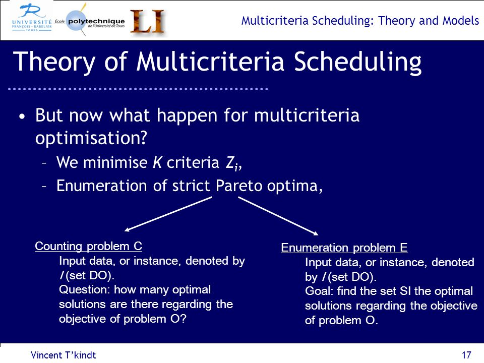 Multicriteria Scheduling: Theory and Models Vincent Tkindt18 Theory of Multicriteria Scheduling Spatial complexity vs Temporal complexity, Problems which can be solved in polynomial time in the input size and number of solutions V.
