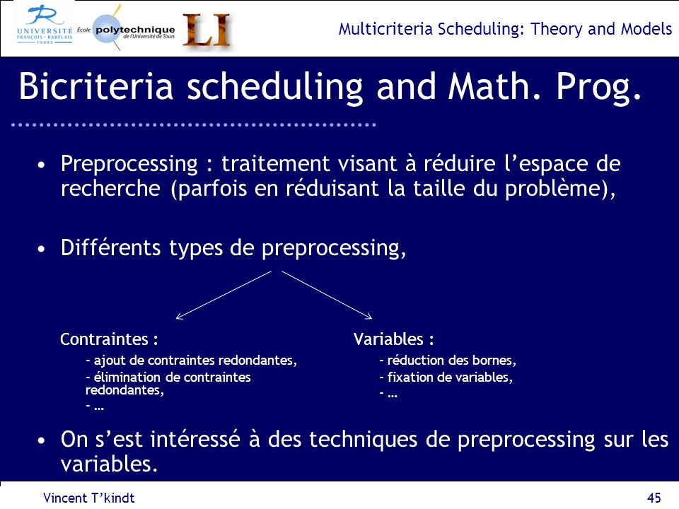 Multicriteria Scheduling: Theory and Models Vincent Tkindt46 Bicriteria scheduling and Math.