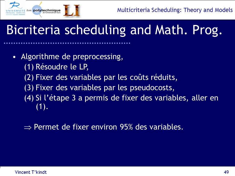 Multicriteria Scheduling: Theory and Models Vincent Tkindt50 Bicriteria scheduling and Math.