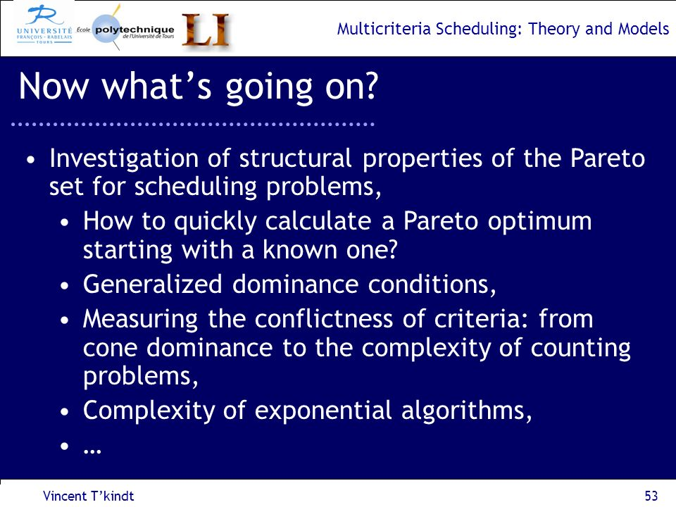 Multicriteria Scheduling: Theory and Models Vincent Tkindt54 Now whats going on.