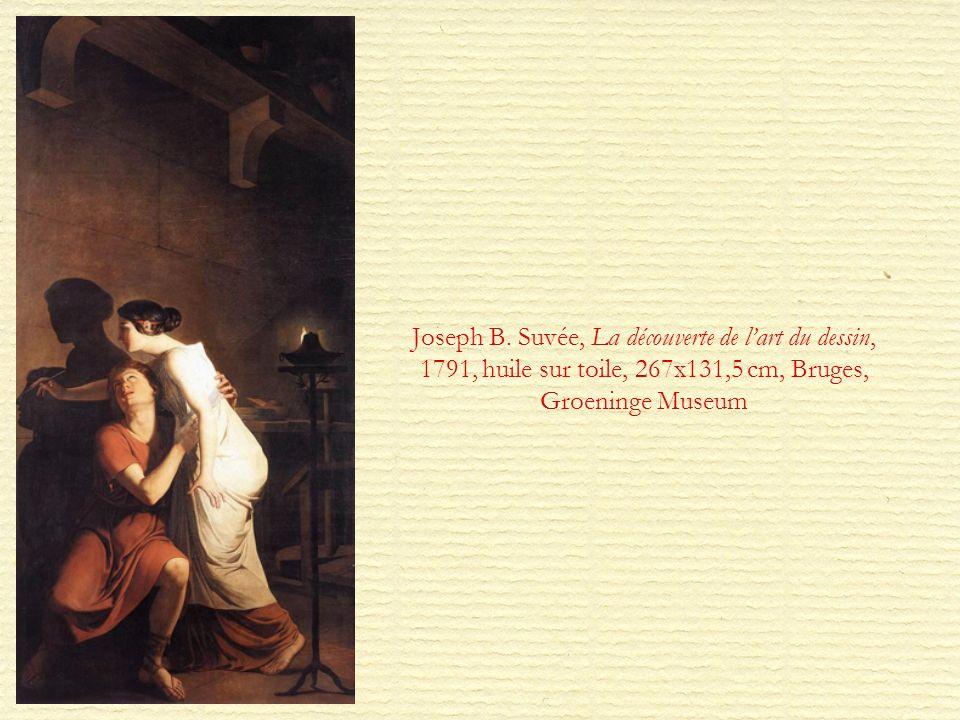Joseph B. Suvée, La découverte de lart du dessin, 1791, huile sur toile, 267x131,5 cm, Bruges, Groeninge Museum