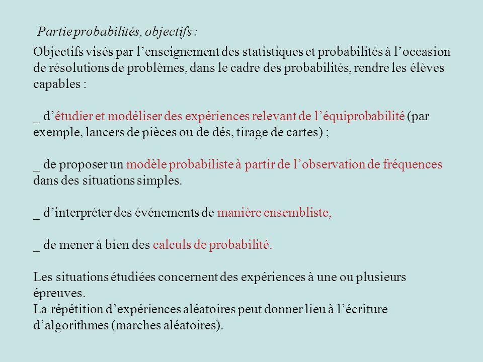Objectifs visés par lenseignement des statistiques et probabilités à loccasion de résolutions de problèmes, dans le cadre des probabilités, rendre les