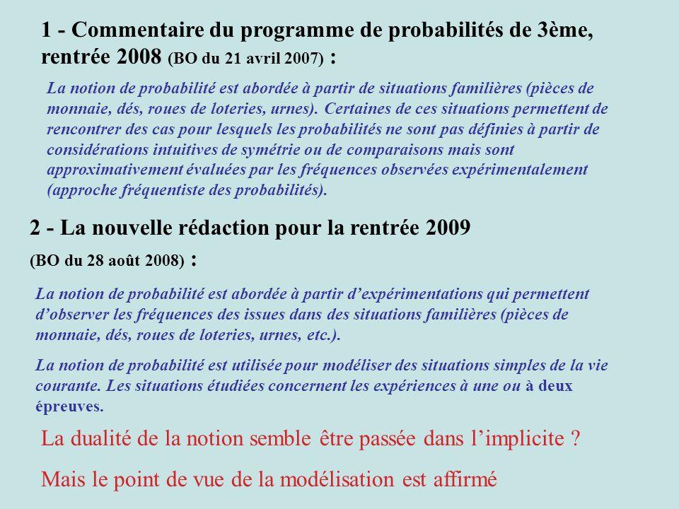 1 - Commentaire du programme de probabilités de 3ème, rentrée 2008 (BO du 21 avril 2007) : La notion de probabilité est abordée à partir de situations