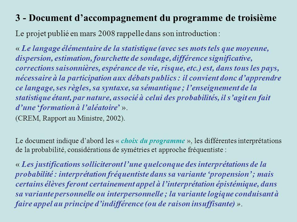 3 - Document daccompagnement du programme de troisième Le projet publié en mars 2008 rappelle dans son introduction : « Le langage élémentaire de la s