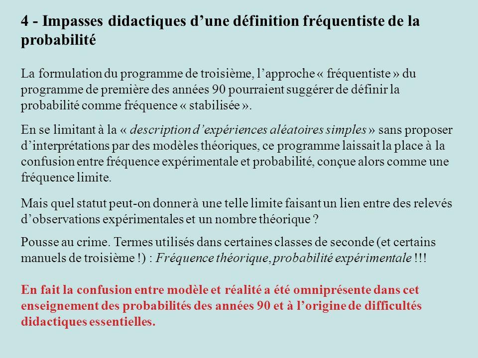 4 - Impasses didactiques dune définition fréquentiste de la probabilité La formulation du programme de troisième, lapproche « fréquentiste » du progra