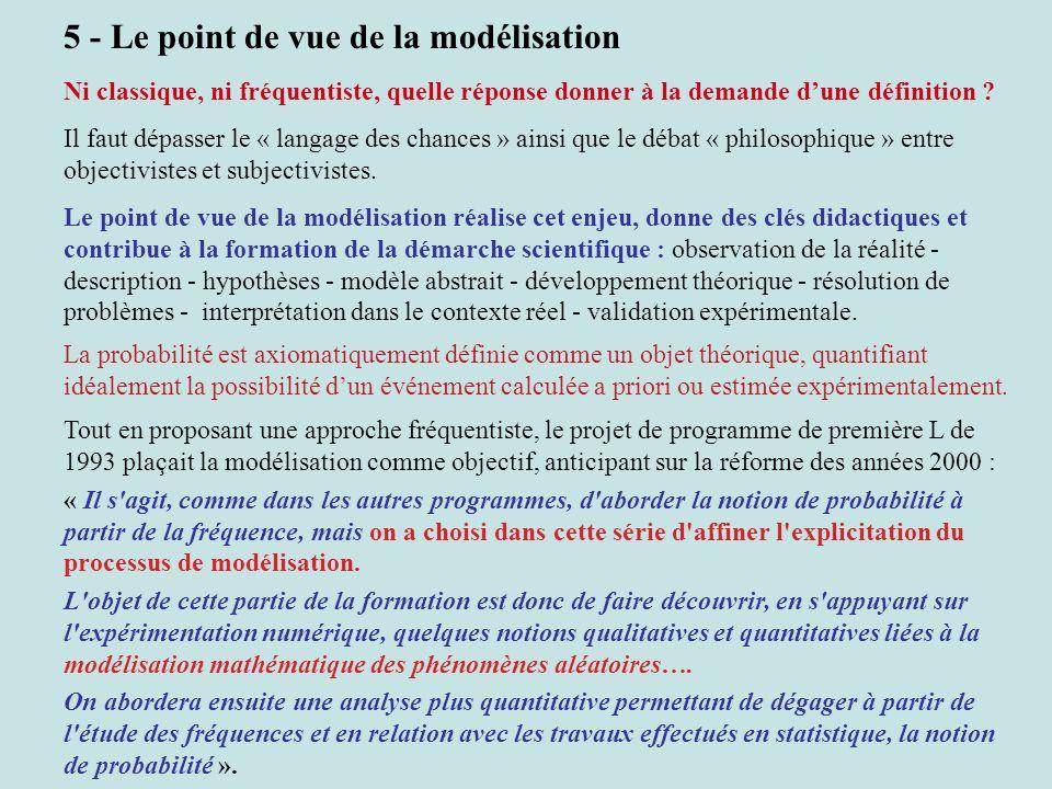 5 - Le point de vue de la modélisation Ni classique, ni fréquentiste, quelle réponse donner à la demande dune définition ? Il faut dépasser le « langa