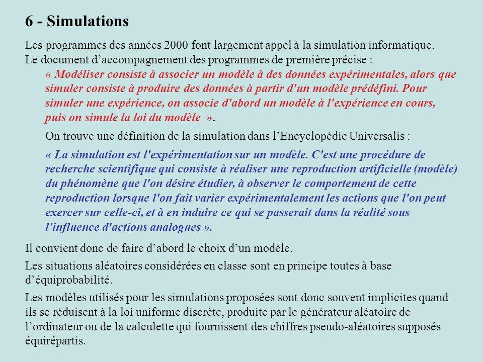 6 - Simulations Les programmes des années 2000 font largement appel à la simulation informatique. Le document daccompagnement des programmes de premiè