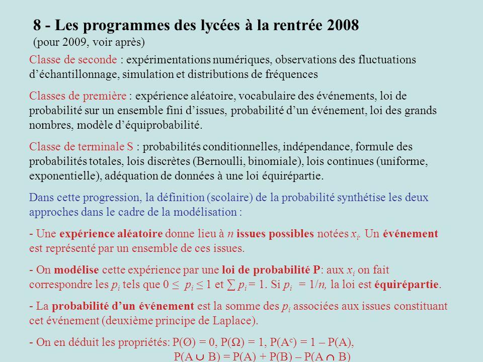 8 - Les programmes des lycées à la rentrée 2008 (pour 2009, voir après) Classe de seconde : expérimentations numériques, observations des fluctuations