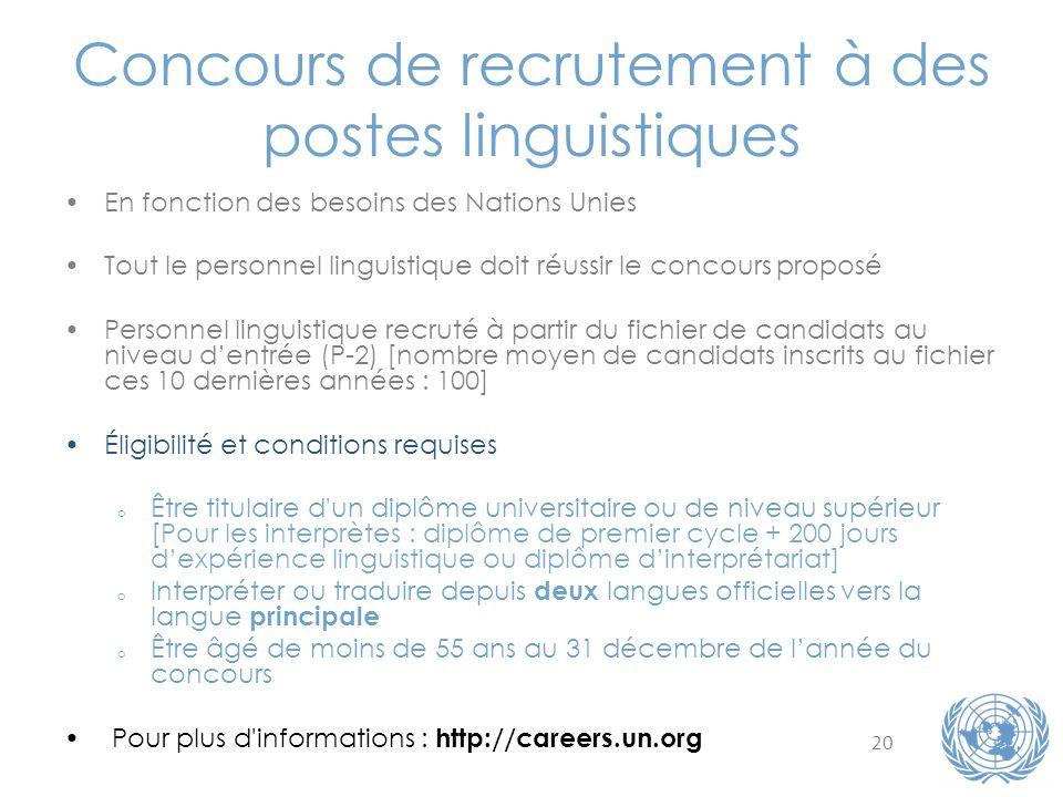 20 Concours de recrutement à des postes linguistiques En fonction des besoins des Nations Unies Tout le personnel linguistique doit réussir le concour