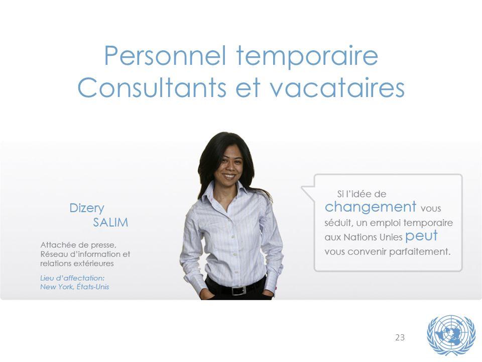 23 Personnel temporaire Consultants et vacataires