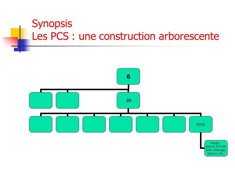 Synopsis Les PCS : une construction arborescente 6 69 691b berger, garçon décurie aide délevage, trayeur, etc.