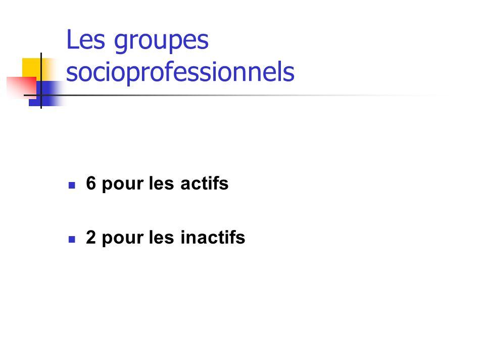 Les groupes socioprofessionnels 6 pour les actifs 2 pour les inactifs