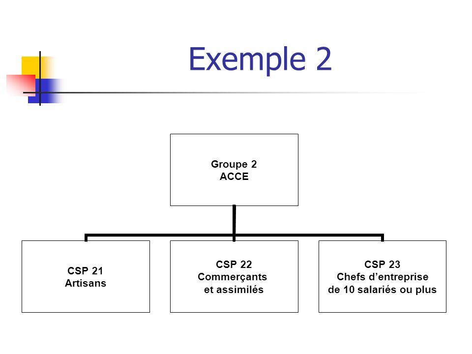 Exemple 2 Groupe 2 ACCE CSP 21 Artisans CSP 22 Commerçants et assimilés CSP 23 Chefs dentreprise de 10 salariés ou plus