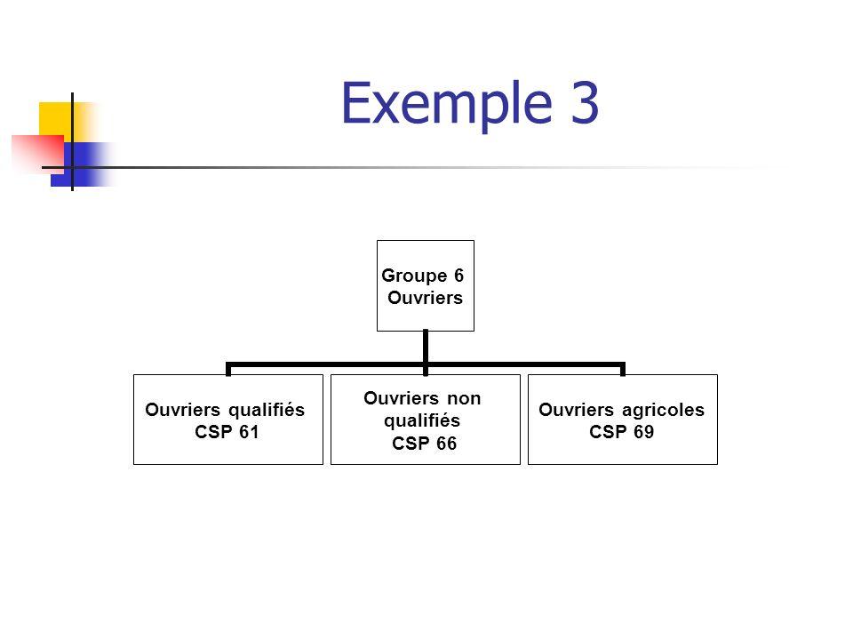 Exemple 3 Groupe 6 Ouvriers Ouvriers qualifiés CSP 61 Ouvriers non qualifiés CSP 66 Ouvriers agricoles CSP 69