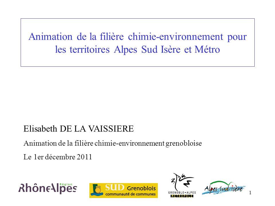 1 Animation de la filière chimie-environnement pour les territoires Alpes Sud Isère et Métro Elisabeth DE LA VAISSIERE Animation de la filière chimie-