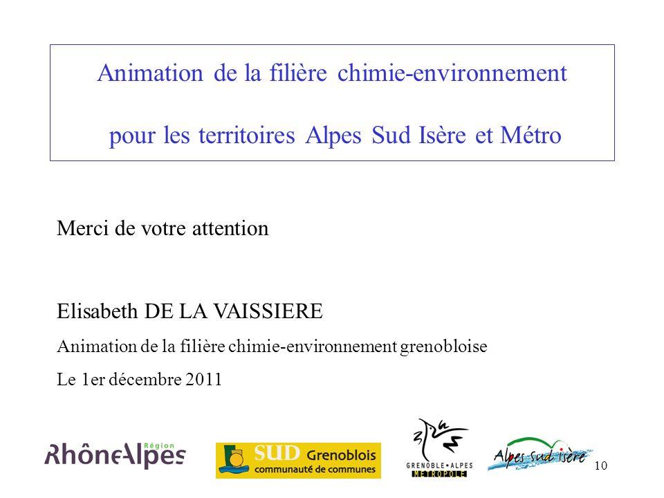 10 Animation de la filière chimie-environnement pour les territoires Alpes Sud Isère et Métro Elisabeth DE LA VAISSIERE Animation de la filière chimie