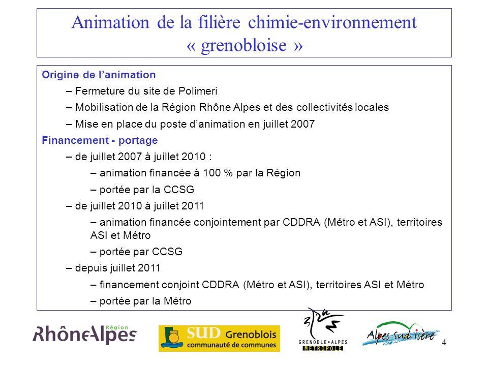 4 Animation de la filière chimie-environnement « grenobloise » Origine de lanimation – Fermeture du site de Polimeri – Mobilisation de la Région Rhône