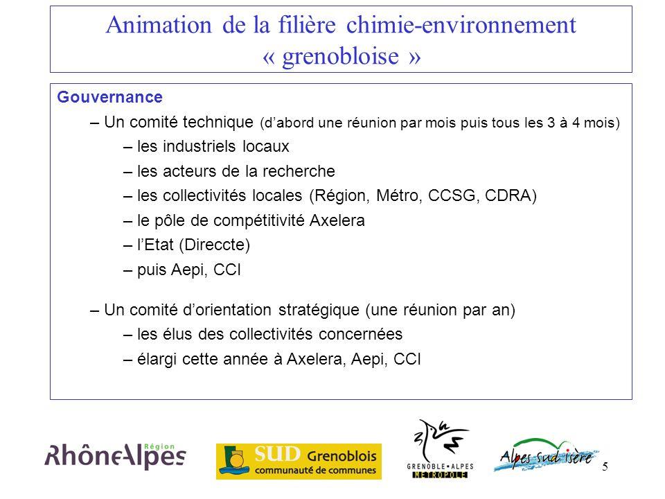5 Animation de la filière chimie-environnement « grenobloise » Gouvernance – Un comité technique (dabord une réunion par mois puis tous les 3 à 4 mois