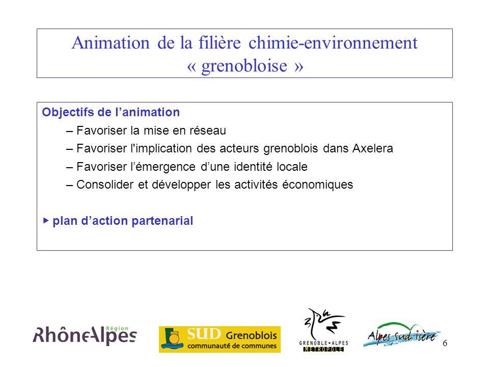 6 Animation de la filière chimie-environnement « grenobloise » Objectifs de lanimation – Favoriser la mise en réseau – Favoriser l'implication des act
