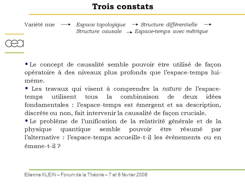 Etienne KLEIN – Forum de la Théorie – 7 et 8 février 2008 Trois constats Le concept de causalité semble pouvoir être utilisé de façon opératoire à des