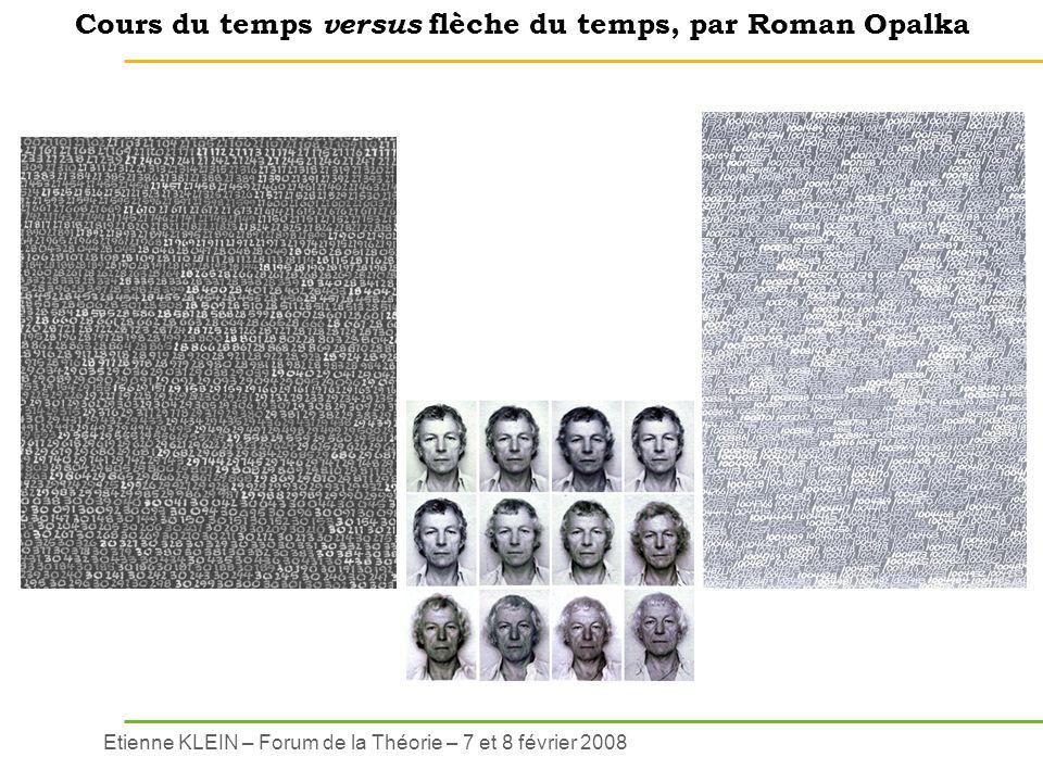 Etienne KLEIN – Forum de la Théorie – 7 et 8 février 2008 Cours du temps versus flèche du temps, par Roman Opalka